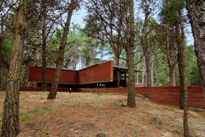 Nevšední cihlový dům v borovém lese