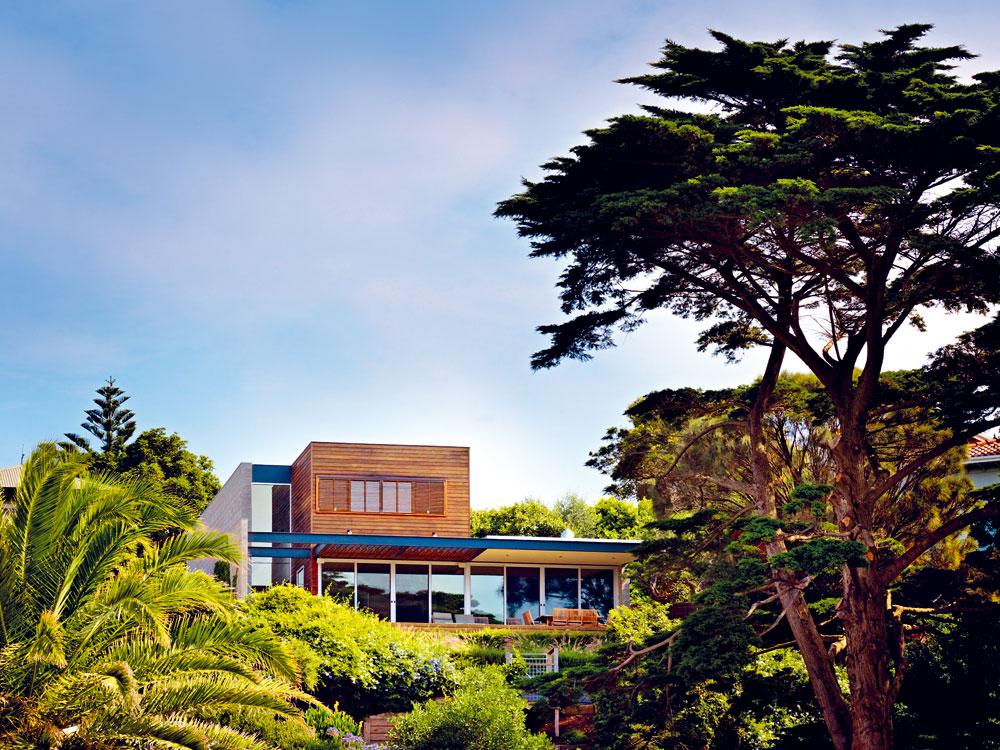 Není hodně míst, ze kterých se nabízí výhled na dům z větší vzdálenosti. Většinou ho zaclání mohutný cypřiš (Cupressus macrocarpa). Jeho větve se při pohledu z domu vyjímají jako krásný těžký závěs. FOTO: Rhiannon Slater