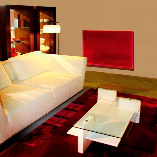 Skleněné sálavé panely jsou určeny především k vytápění obytných prostorů. Vyrábějí se v několika barevných úpravách, kromě jiných i vzrcadlovém vyhotovení.  FOTO: Fenix Group