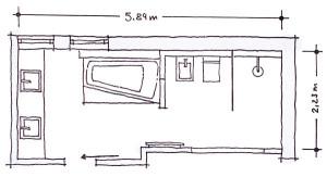 Půdorys 1 – umyvadla, 2 – vana, 3 – radiátor, 4 – bidet a WC, 5 – sprcha