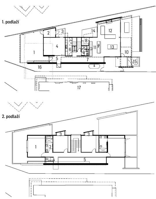 1. podlaží 1 – parkovací plocha; 2 – sklad; 3 – terasa; 4 – herna; 5 – chodba; 6 – prádelna; 7 – hala; 8 – komora; 9 – koupelna; 10 – terasa, 11 – kuchyň; 12 – obývací prostor; 13 – jídelna, 14 – terasa, 15 – bazének, 16 – dvorek; 17 – sousední dvoupodlažní dům 2. podlaží 1 – ložnice; 2 – koupelna; 3 – arkýř; 4 – WC; 5 – prostor otevřený přes dvě podlaží kresba: Simon Perkins
