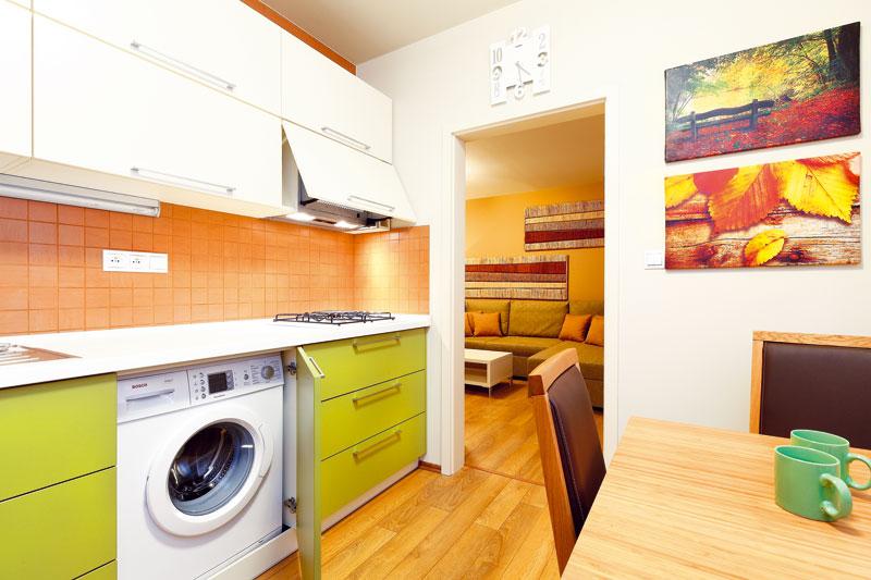 Do kuchyně se nyní vchází jen přes obývací pokoj. Paní Dagmar tu bydlí sama a toto řešení jí nijak nepřekáží. Uspořádání linky podřídila designérka praktické logice – mezi varnou deskou a dřezem nechala dostatečný pracovní prostor. Zabudováním pračky do linky se uvolnilo místo v koupelně.   FOTO: Dano Veselský