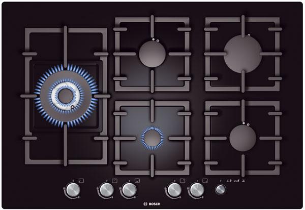 Nevýhodou u klasických plynových hořáků je jejich obtížné čištění. Údržba plynové varné desky s povrchem z tvrzeného skla je podstatně jednodušší. Foto: Bosch