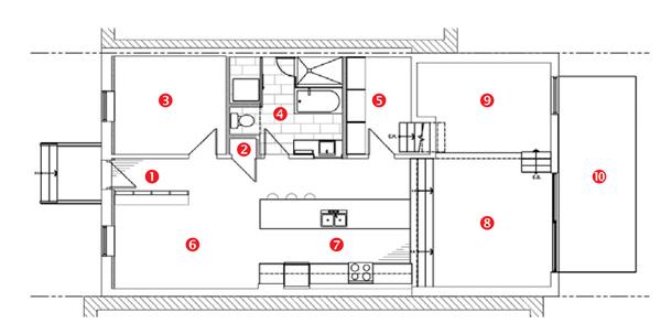 půdorys stavby 1 hala 2 šatna 3 ložnice 4 koupelna 5 vstup 6 hudební pokoj 7 kuchyně 8 jídelna 9 obývací pokoj 10 terasa Naturehumaine