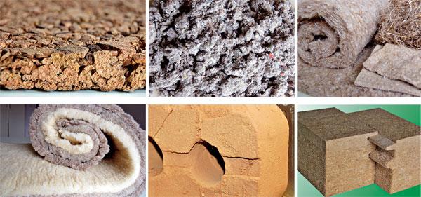 a) Korek se vyrábí zkůry korkového dubu. Kdůležitým vlastnostem tohoto materiálu patří kromě vynikajících tepelněizolačních, zvukověizolačních aantivibračních schopností inenasákavost, flexibilita avneposlední řadě také to, že neabsorbuje prach azabraňuje tvorbě plísní. Vlastnosti korku vyplývají zjeho výjimečné přirozené struktury achemického složení buňkových membrán. Korkový dub roste ve Španělsku aPortugalsku. b) Foukaná celulóza je recyklovaný materiál vyrobený rozvlákněním papíru. Má dobré tepelněizolační izvukověizolační vlastnosti, je difuzně propustná, dobře reguluje vlhkost avýhodou je ischopnost akumulace. Rychle se aplikuje aumožňuje kvalitní vyplnění složitějších konstrukčních prvků novostaveb, ale istropů ve starých domech. Foukanou celulózu lze kombinovat isnasekanou slámou nebo konopím. c) Konopná izolace je další dobrou alternativou tepelné izolace. Představuje zejména výplňovou izolaci střech, stěn apodlah se všemi pozitivními vlastnostmi přírodních materiálů – jde oobnovitelný zdroj, dobře reguluje vlhkost, je paropropustná, zdravotně nezávadná asnadno recyklovatelná. Vyrábějí se ipevnější izolační rohože vhodné pro kontaktní zateplení. Pěstování konopí není unás už tak neobvyklé, ale přesto je ho vsoučasnosti málo, takže ho musíme dovážet. d) Vlna je velmi dobrý tepelněizolační materiál se schopností pozitivně ovlivňovat vlhkost vprostředí. Má výjimečnou schopnost pohlcovat nadměrnou vlhkost vkonstrukci apřitom stále dobře izolovat. Je to výhoda přírodního živočišného materiálu, který je však vsoučasnosti nedoceněnou surovinou. Protože nám chybějí zpracovatelé vlny, musí se tento materiál dovážet. e) Nepálená hliněná cihla. Nepálené hliněné tvarovky vyráběné vtradičních cihelnách mohou být dobrou náhradou za pálené cihly. f) Dřevovláknité desky jsou osvědčeným velkoplošným izolačním materiálem pro využití vinteriérech ivexteriérech. Jsou zdomácí produkce, vyrobené ze štěpky  smrkového dřeva.(foto: Artur)