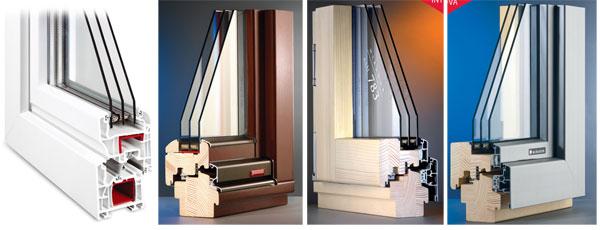 Prosklení izolačním trojsklem má výrazný vliv na snížení úniku tepla: a) řez plastovým oknem (foto: Kalypso), b) řez dřevěným oknem, c) řez dřevohliníkovým oknem – interiérová strana, d) řez dřevohliníkovým oknem – exteriérová strana (foto: Mirador)