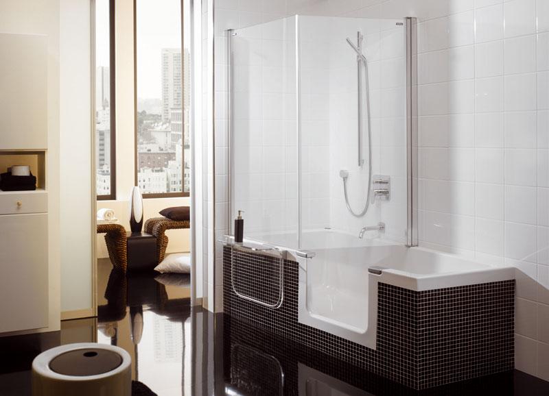 Vana, nebo sprchovací kout? Jestli se nemůžeme rozhodnout, výrobci nám vyšli vstříc řešením 2 v1. (Duscholux)