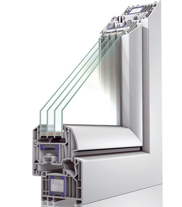 Tříkomorové čtyřsklo znabídky společnosti Oknoplast má tloušťku skla pouze 3 mm akomory vyplněné argonem. Dosahuje tak součinitele prostupu tepla jen Ug = 0,4 W/(m2 . K). Takovéto zasklení má tedy tepelněizolační vlastnosti až o40 % lepší než tradiční dvojsklo. Uokna Winergetic Premium Passive, které má běžně součinitel prostupu tepla Uw ≤ 0,8 W/(m2 . K), klesá při použití tříkomorové soustavy skel hodnota Uw pro celé okno až na 0,6 W/(m2 . K). foto: Oknoplast
