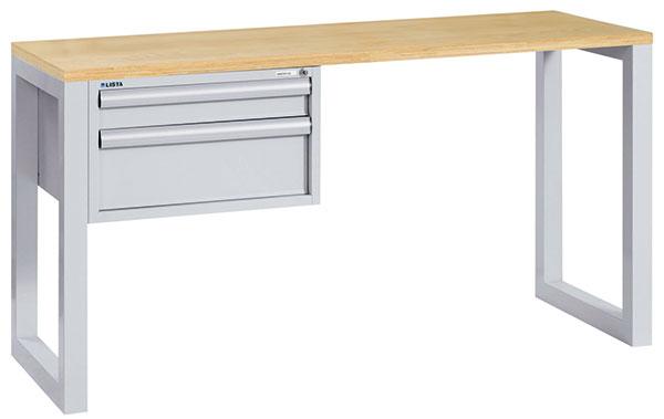 Kvalitní pracovní stoly značky LISTA vrůzném provedení: a) se zásuvkovou skříní (zásuvky jsou uzamykatelné a plně výsuvné snosností 20 kg), rozměry stolu 1 600 × 600 × 850 mm, s vyztuženou pracovní deskou vprovedení Laminát foto: MAXITECH