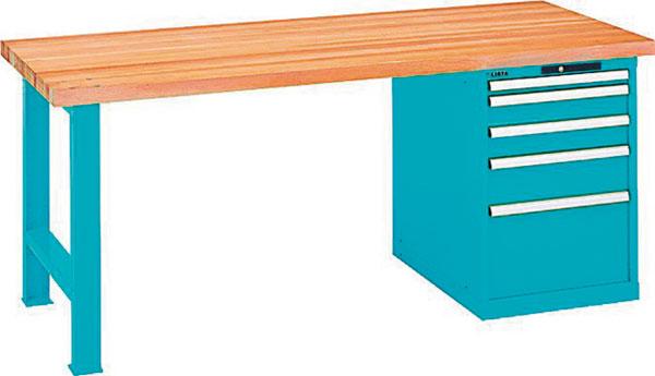 b) se zásuvkovou skříňí (zásuvky jsou uzamykatelné a plně výsuvné snosností 75 kg), rozměry stolu 1500/2000 × 750 × 840 mm, s bukovou pracovní deskou o tlouštce 50 mm, která má zkosené, hoblované a olejované hrany – povrch odolný proti vodě, špíně a mastnotě. foto: MAXITECH