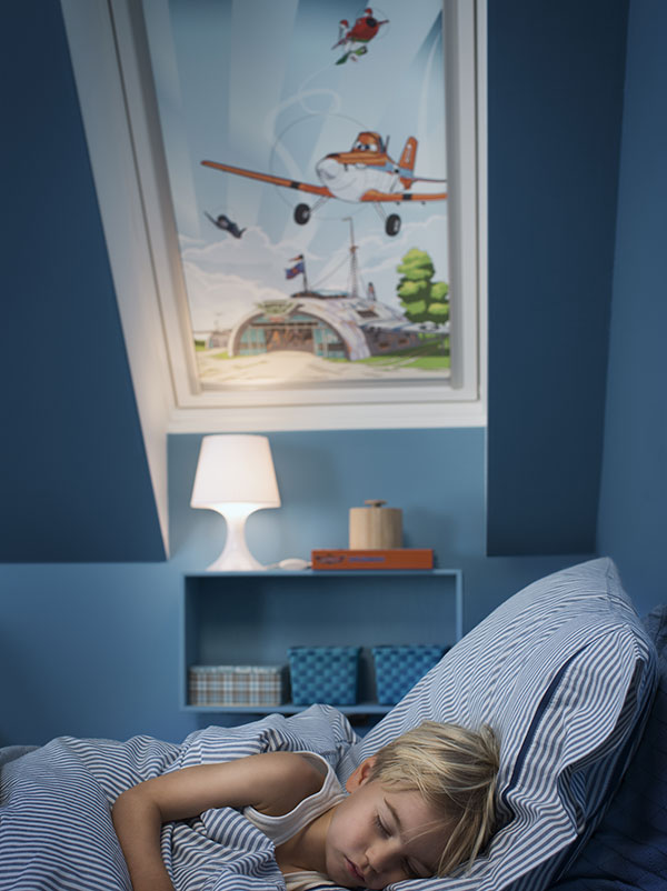 Rolety z Disney & VELUX Kolekce snů splňují nejpřísnější normy týkající se nezávadnosti výrobku. Použité materiály neobsahují žádné škodlivé látky.                              © Disney.