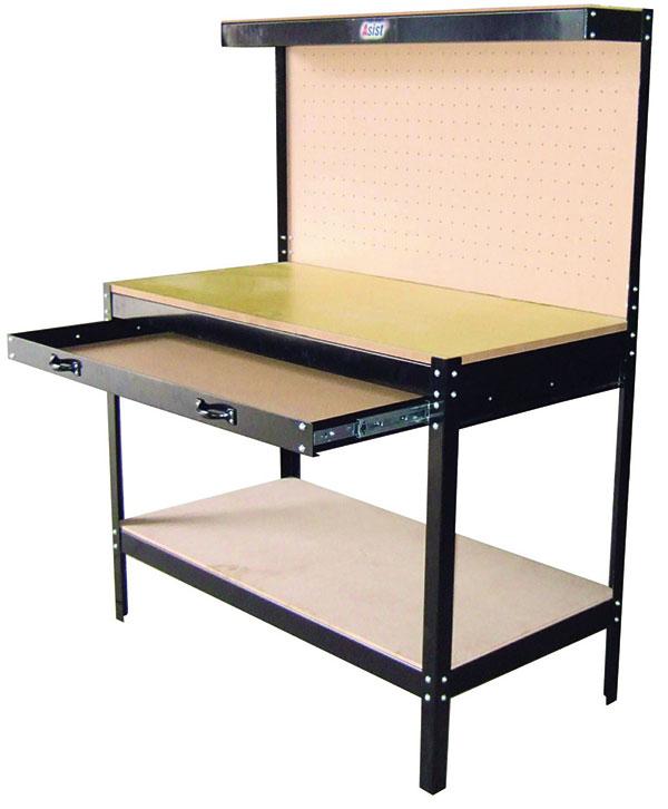 Praktický pracovní stůl Asist – pracovní výška 800 mm, plocha stolu 240× 340 × 605 mm, nosnost 100 kg, se zadní děrovanou deskou, výsuvnou zásuvkou a policí. foto: OBI