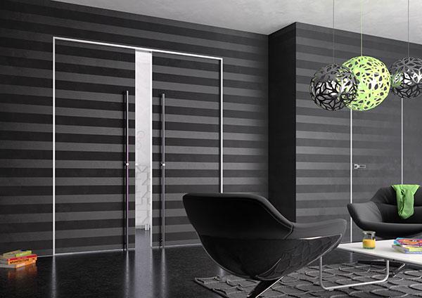 Stavební pouzdro EVO KOMFORT s tenkým kovovým rámečkem místo zárubně  je určeno také pro dvoukřídlé posuvné dveře. zdroj: