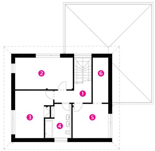 Půdorys patra 1 chodba 2 detský pokoj 3 detský pokoj 4 koupelna aWC 5 ložnice 6 šatna