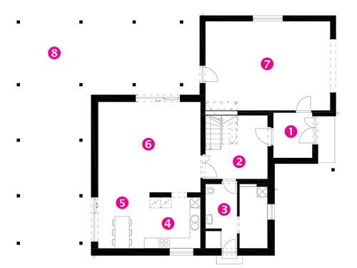 Půdorys přízemí 1 zádveří 2 hala 3 koupelna a WC 4 kuchyň 5 jídelna 6 obývací pokoj 7 garáž 8 terasa