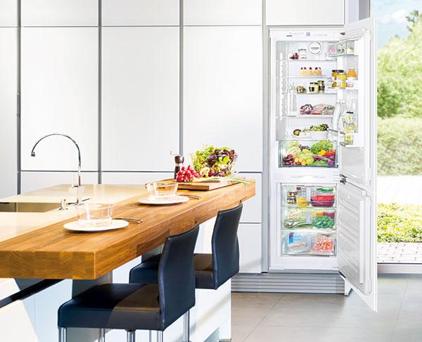 """Při výběru chladničky vybírejte alespoň třídu A++. (Chladnička třídy B se vám oproti ní během svého """"života"""" prodraží zhruba o 8 000 Kč.) Preferujte beznámrazový systém. Velikost chladničky by měla odpovídat cca 60 litrům objemu na osobu. foto: Liebherr"""