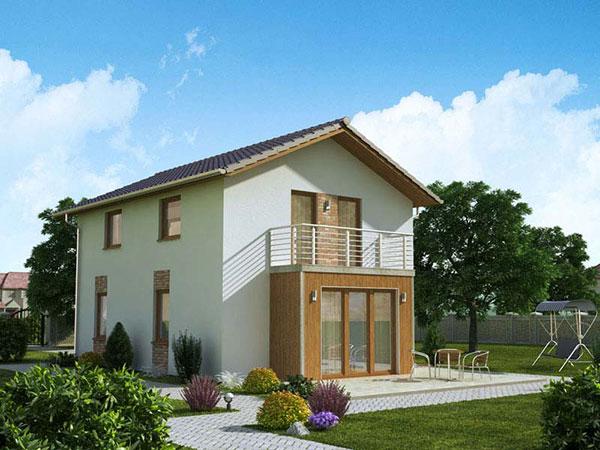 Varianta domu se sedlovou střechou Ekonomik N7 – 77 Zdroj: Ekonomické stavby