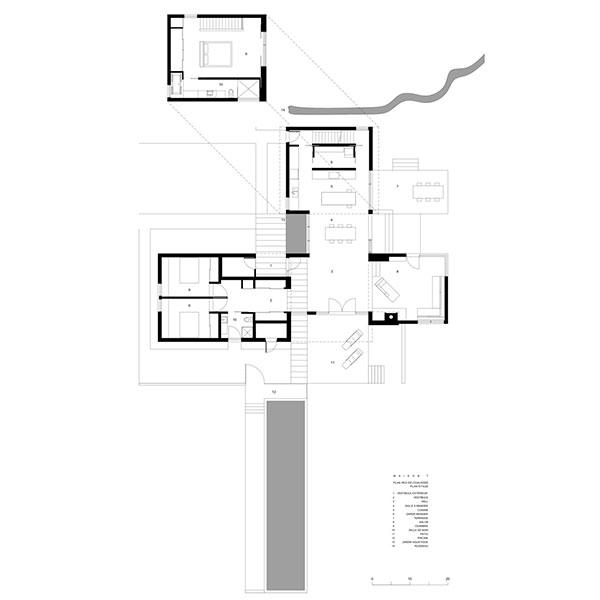 Půdorys domu včetně ložnice ve 2. podlaží