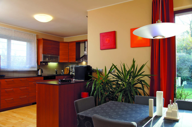 """Kuchyň je částečně """"taktně"""" oddělena od obývacího pokoje, aby na pracovní plochu nebylo příliš vidět."""