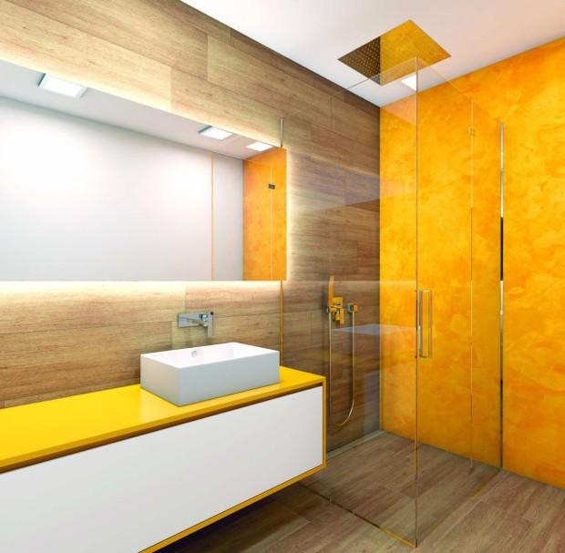 Nelíbí se vám klasický obklad v koupelně? A co takhle dekorační stěrka? Je dostatečně velkorysá, co se týká množství barev, odolává vodě (nebojte se použít ji i na exponovaných místech kolem umyvadel či vany) a má dlouhou životnost. Její aplikaci však raději svěřte do odborných rukou. (foto: Perfecto)