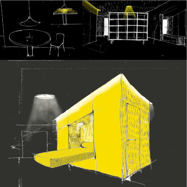Od podoby návrhů a skic se idea nezměnila, nasvícený kvádr jako solitérní hmota, která v sobě ukrývá další funkce.