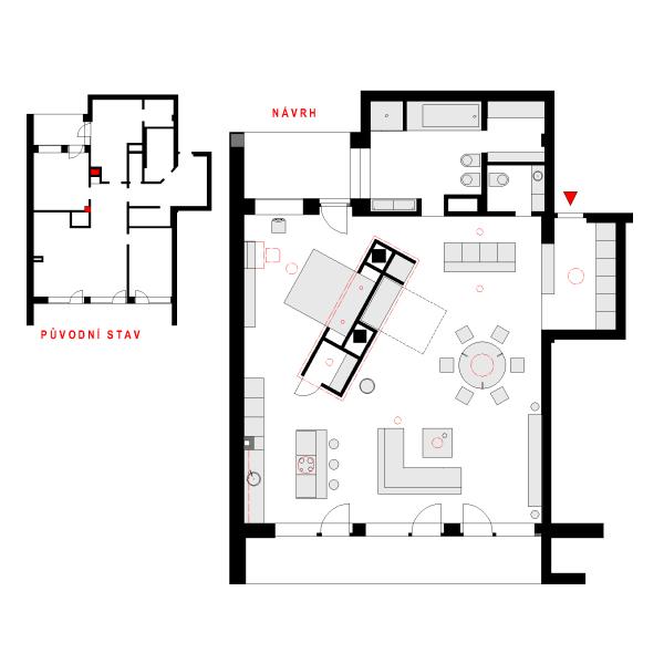 Zadání od majitele bytu bylo: maximální otevření prostoru a vytvoření intimní zóny na spaní, jinak měl architekt zcela volnou ruku.