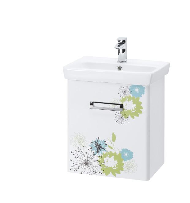 Koupelnová skříňka Print 550 s keramickým umyvadlem Mini, vzor Botanicus, 9 190 Kč, www.drevojas.cz