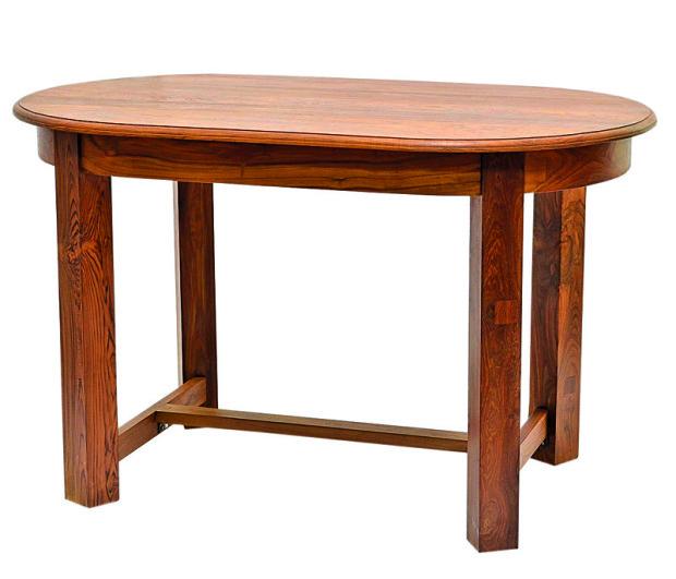 Stůl, oválný, antik týk, hranaté nohy, medově mořený