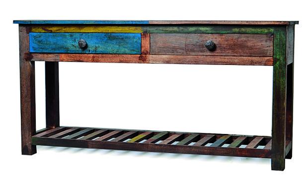 """Konzolový stolek, """"Goa"""", 2 šuplíky, starý teak, barevný"""