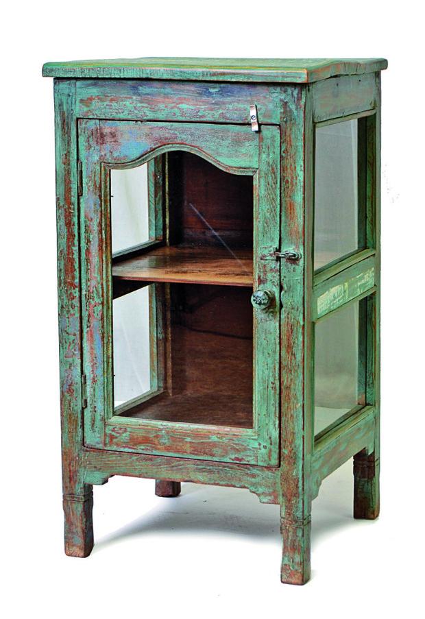 Skříňka, prosklené dveře, tyrkysová antik úprava, starý teak