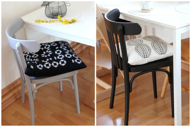 Barbora má slabost, jak se sama vyjádřila, pro židle a křesla TON. Její sbírku zatím tvoří dva vlastními silami renovované kusy. Aby barevně nesplývali se stolem, natřela je šedou a černou barvou. Ještě je čekají nové sedáky, zatím jako provizorium slouží měkké polštáře.