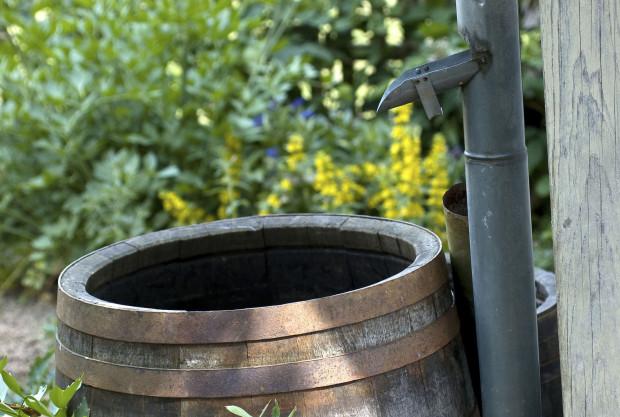 V rámci šetření je praktické přistavět k okapové rouře sud na zachytávání dešťové vody.  (foto: thinkstock.cz)