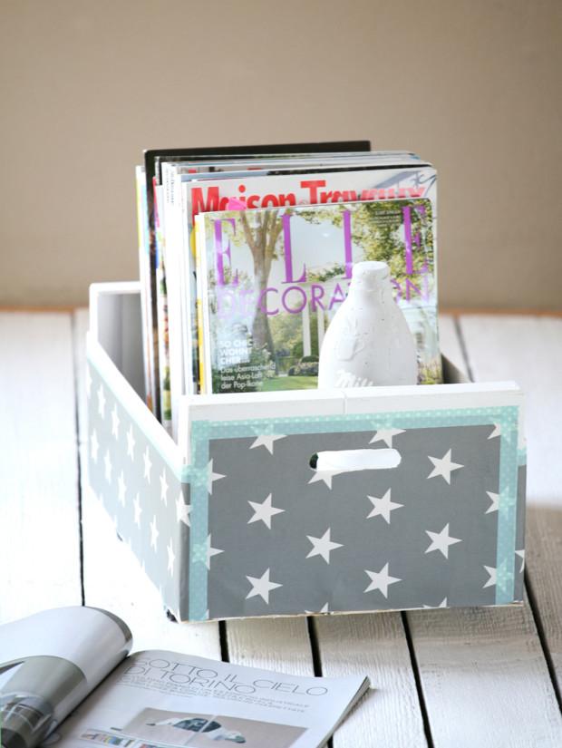 Pokud na bedničku použijete papír s neutrálnějším motivem, může sloužit například na odkládání časopisů.