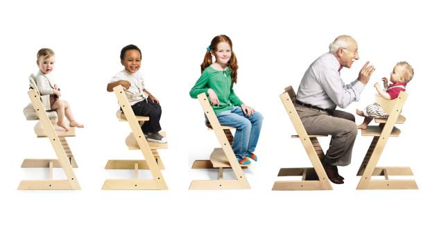 Židle Stokke Tripp Trapp s nastavitelným sedadlem a stupínkem pro batolata, děti i dospělé, 4 390 Kč, www.mybabystore.cz