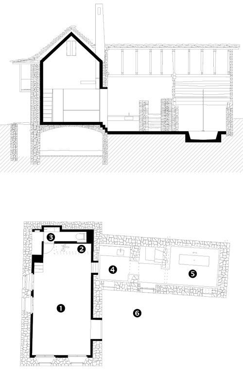 Legenda 1 obývací prostor 2 krb 3 WC 4 kuchyň 5 koupelna 6 dvůr