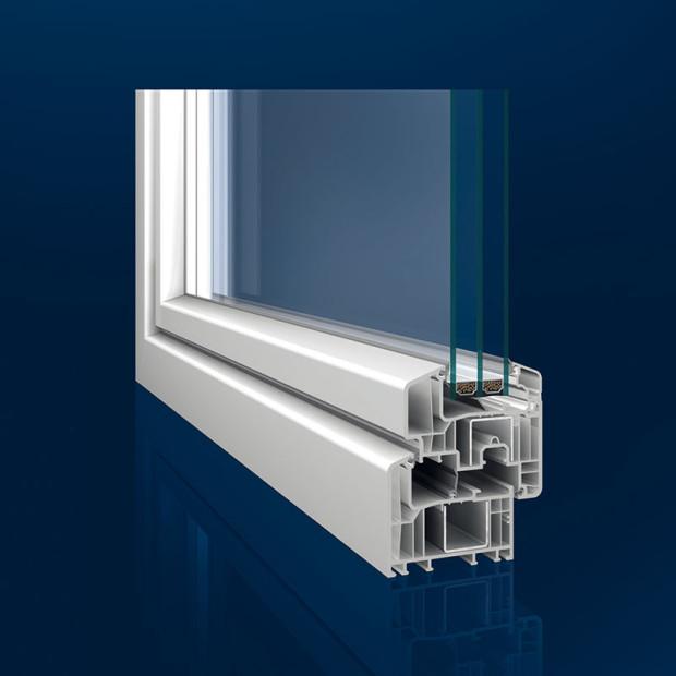 Inoutic Eforte plastový profil 84 mm, Uf = 0,95 W/(m2 . K)