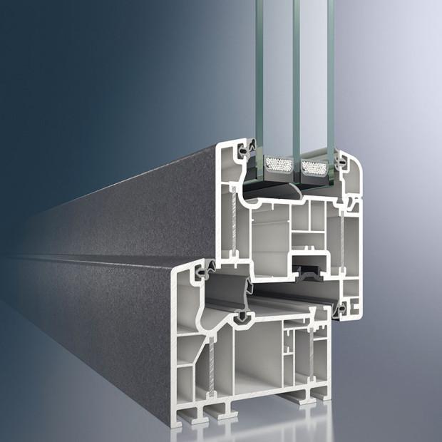 Schüco Alu Inside plastový profil 82 mm, Uf = 0,76 W/(m2 . K)