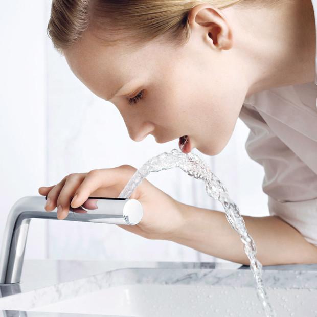 Se specializovanými výtoky Dornbracht si můžete navrhnout koupelnu skutečně podle individuálních potřeb – například umyvadlovou ruční sprchu sširokým ajemným proudem vody, ideální na mytí vlasů, otočný umyvadlový výtok na pohodlné vyplachování úst či vytahovací ruční sprchu, která poslouží při mytí rukou, čela, ale inohou. FOTO DORNBRACHT