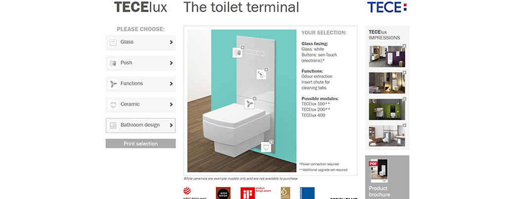 TECE konfigurátory pro snadný výběr designu koupelny