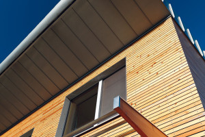 Vlétě, kdy je slunce výš, stíní jižní okna na poschodí přesah pultové střechy, vpřízemí zase lamelový slunolam. Brzy přibude asymetrická stínicí textilie, která zastíní okna obýváku ijižní terasu – ta je bez vhodného stínení vlétě vpodstatě nepoužitelná.