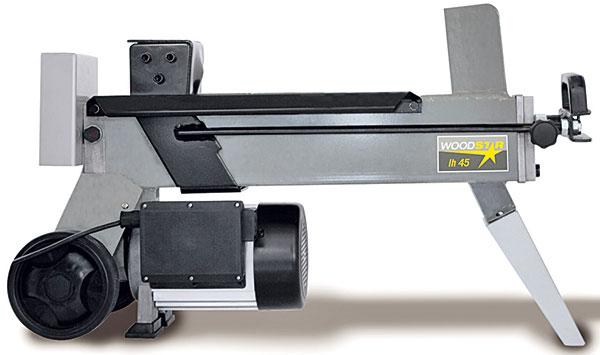 Woodster LH 45 vario, štípač dřeva snastavitelnou délkou chodu pístu kvůli úspoře času při štípání, štípací tlak 4 t, průměr špalku 5−25 cm, délka špalku 25−37cm, prodává OBI, 4190 Kč zdroj: OBI