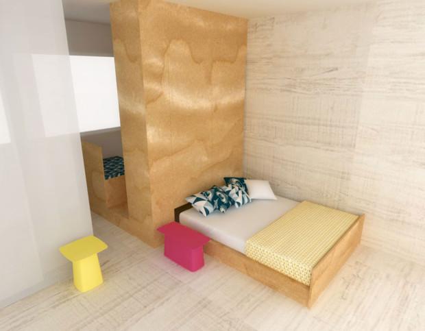 Pokud je to možné, umístěte postel do niky čelně. Ani jeden z partnerů tak nebude muset překračovat toho druhého. Pokud chcete plně zužitkovat prostor pod samotným lůžkem, zvolte namísto výsuvů (s nimiž se však snáze manipuluje) výklopnou postel využívající celou úložnou plochu.