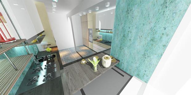 Znásobený prostor. Úzké kuchyni velmi pomůže správné umístění zrcadel – zrcadlo na delší stěně vytváří optickou iluzi, díky níž vypadá místnost dvojnásobně širší. (Pohled směrem od okna ke dveřím.)