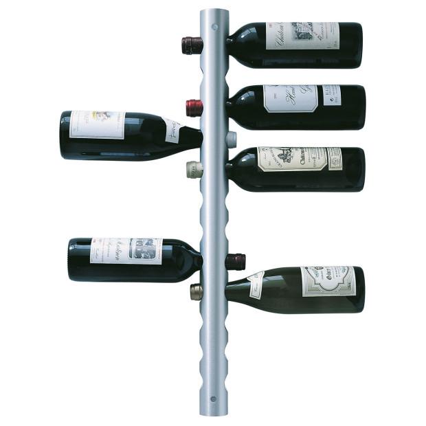 Minimalistický kovový stojan na víno, Rosendahl, na 12 lahví, broušený hliník, průměr 5 cm, výška 75 cm, £ 62, www.amazon.co.uk