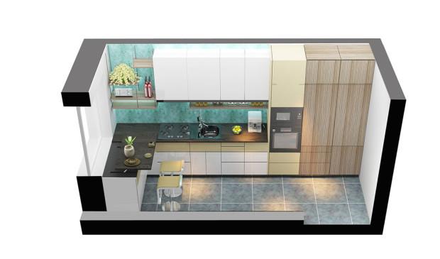 Na pracovní ploše jsou zóny přípravy jídla (1), mytí (2) a vaření (3). Troubu umístili do pohodlné výšky.