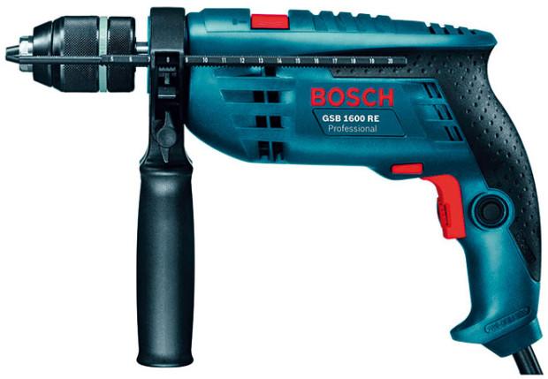 Příklepová vrtačka Bosch GSB 1600 RE Professional + sada vrtáků (4, 5, 6, 8 mm), 2820 Kč