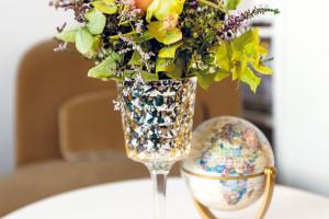 Glóbus je kolaudační dárek od Moniky. Na stolku má čestné místo stejně jako druhá Lenčina životní záliba – květiny. FOTO LENKA VARGOVÁ