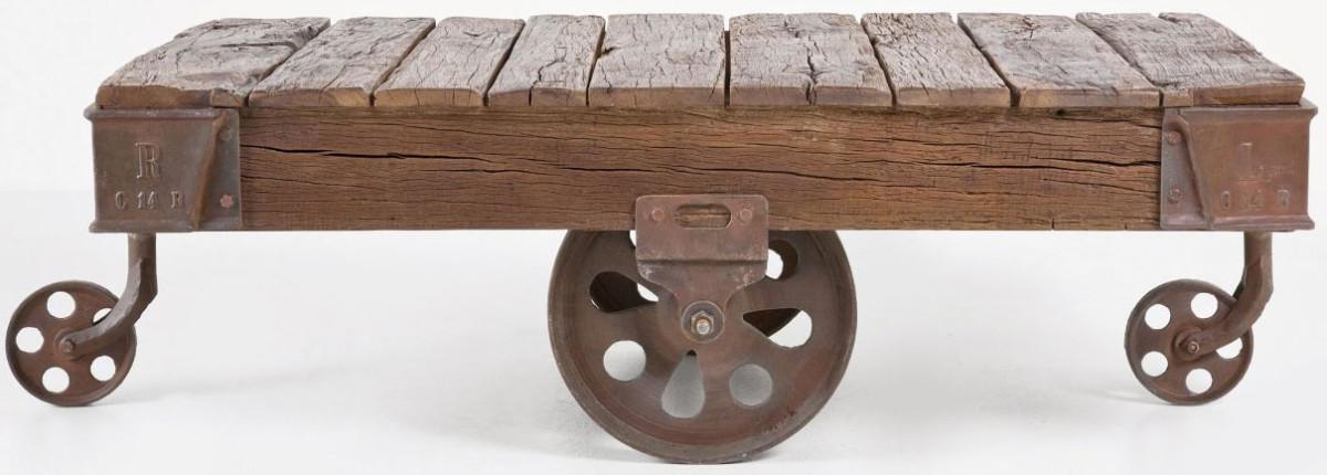 Stolek Coffee Table Railway, 135 x 80 cm, ocel, recyklované voskované dřevo, Kare, 28 490 Kč
