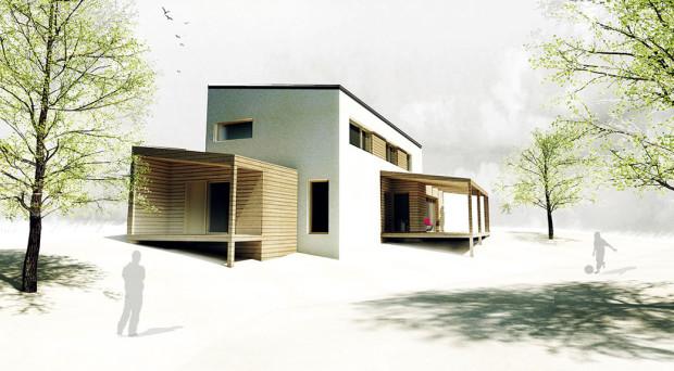 Budoucí podoba domu. Hlavní zasklené plochy jsou orientovány na jih a na západ. zdroj: PROJEKTYDOMU.CZ