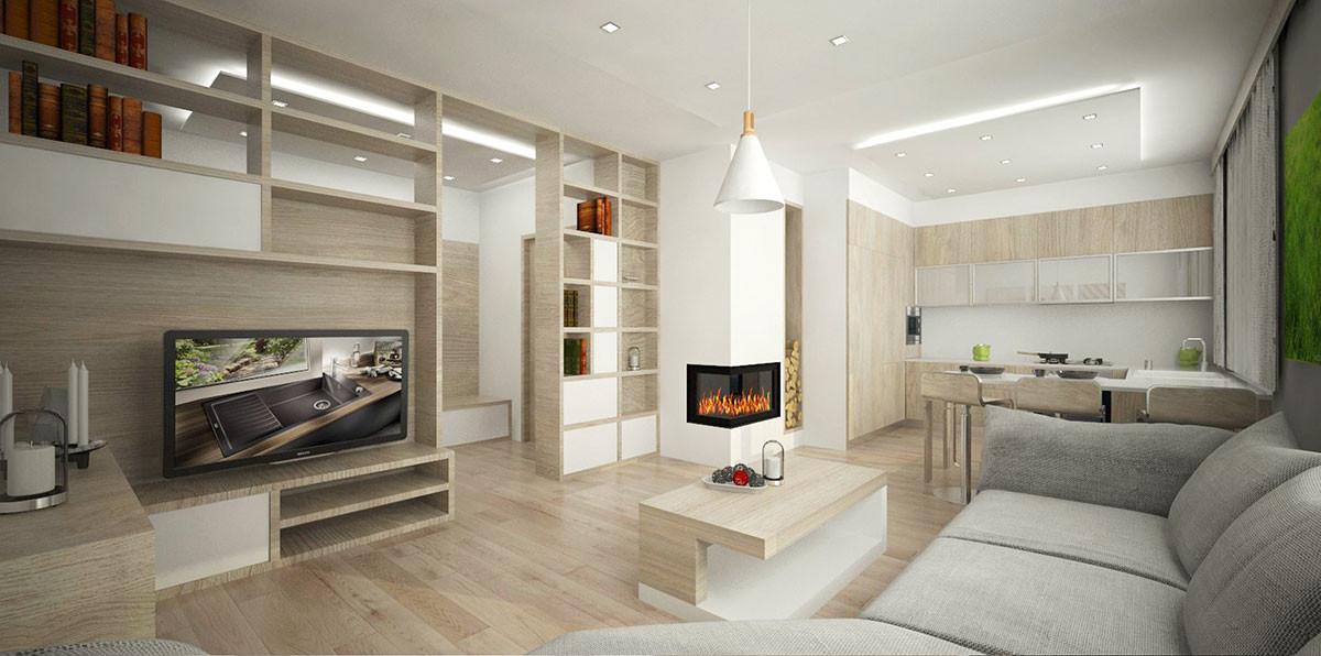 Nábytková příčka oddělující obývací pokoj od chodby poskytuje prostor na knihy, některé její moduly zůstaly otevřené z obou stran, díky čemuž je částečně prosvětlená i chodba.